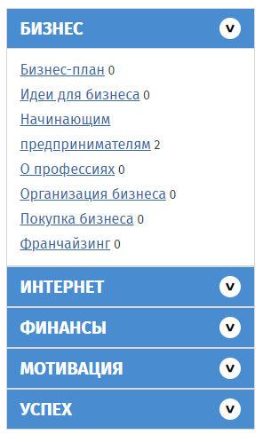 Сайт http://biznesshack.ru/ меню